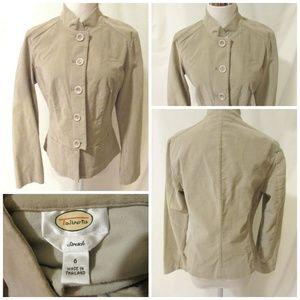 Talbots Jacket Women's Size 6 Tan Beige Velour